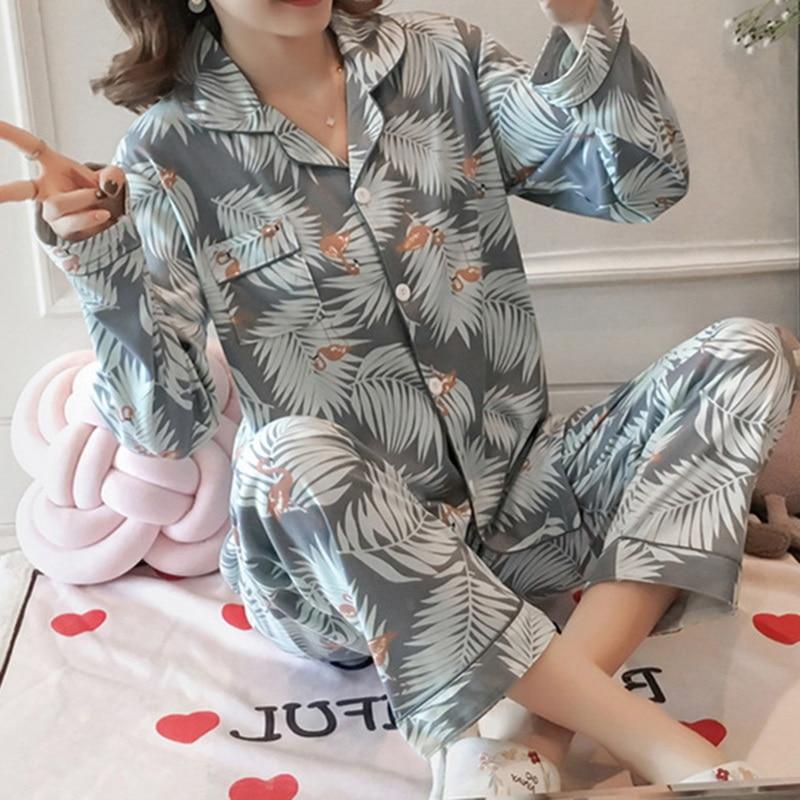 Women Floral Printed Two Pieces Pajamas Set Casual Homewear Women's Sleepwear Set Ladies Women Leaf Turn-down Collar Female