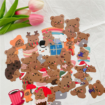 60pc Ins Cartoon Bear Graffiti Cute Stickers Waterproof Sealing Post It Phone Suitcase Laptop DIY Decorative Sticker Stationery - discount item  29% OFF Stationery Sticker
