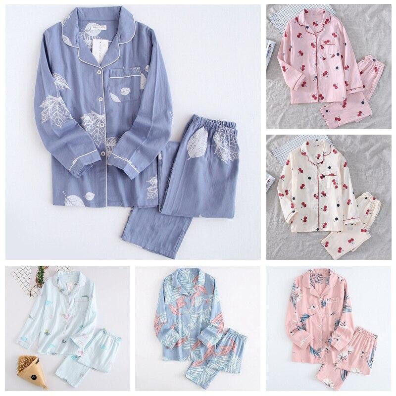 New Cartoon Sleepwear Heart Stripe Print Pajamas Sets Women Harajuku pajamas Men Women long sleeve shirt nighty Nightwear Set 207