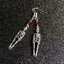 Skeleton Earrings, Skeleton Jewelry, Gothic Jewelry, Skull Earrings, Skeleton Charm, Halloween Jewelry, Red Beads Earrings skeleton