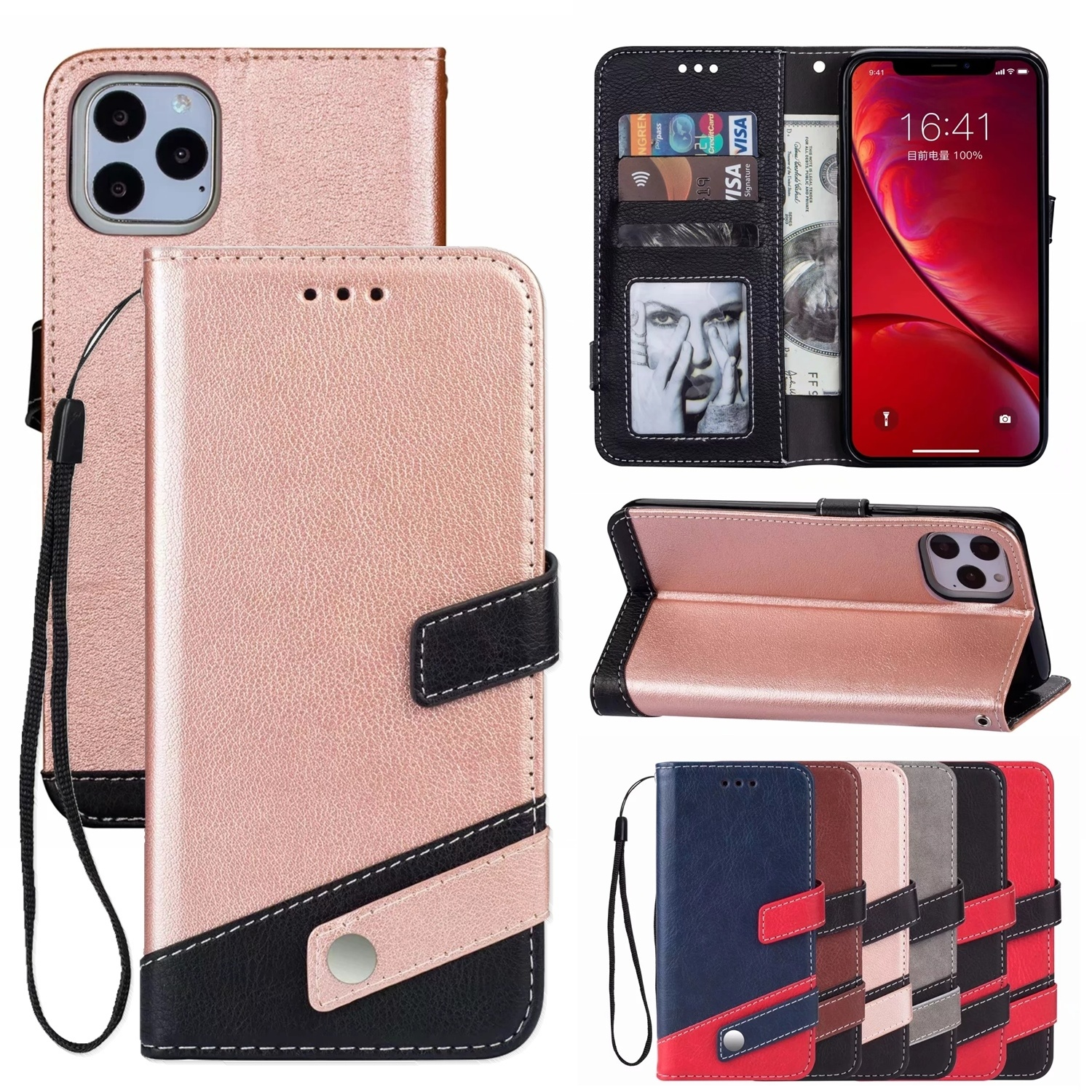 Luxury Leather <font><b>Case</b></font> for <font><b>IPhone</b></font> 11 Pro Max Xs Max XR XS X 8 7 6 S Plus 5S SE 2020 Magnetic Flip Wallet Card Stand Cover Phone Bag image