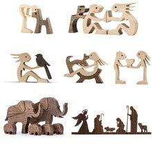 Décoration de Table en bois pour la maison, Sculpture artisanale de chien, faite à la main, animaux de compagnie, décorations de bureau, super cadeau pour les amis