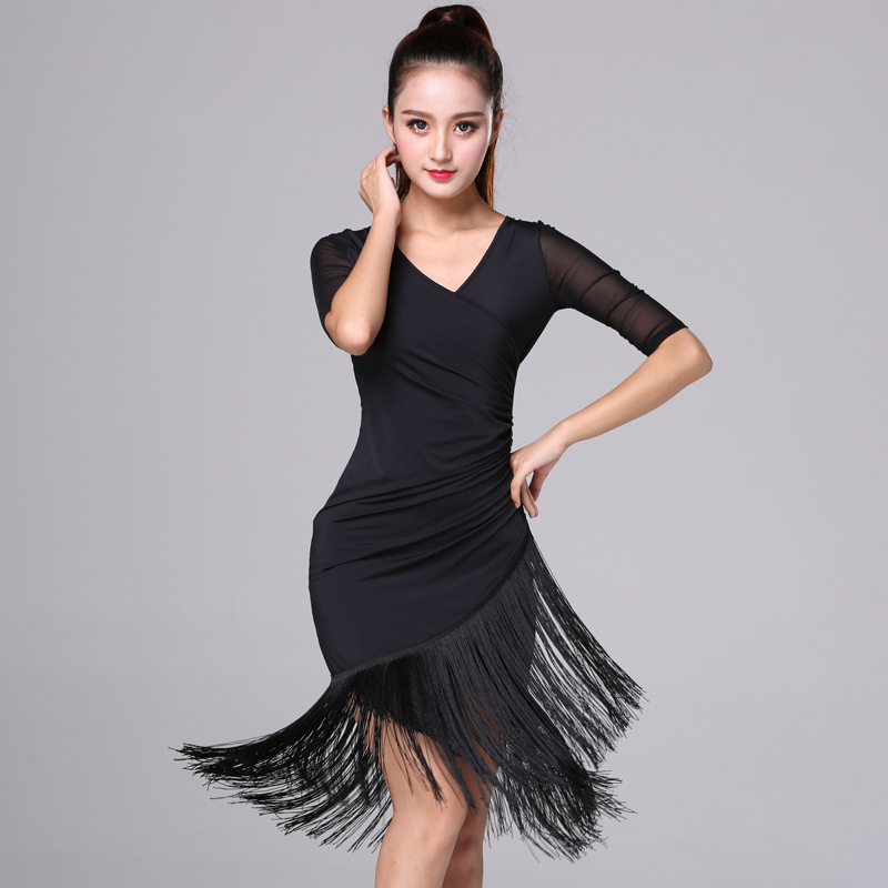 Latin Dance Dress Women 2020 New Sexy Short Sleeve Solid Tassel Slim Fit Dress Ballroom Dance Competition Dresses Vestidos
