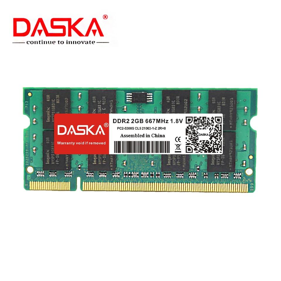 DASKA DDR2 2GB Laptop RAM Memory with 667MHz/800MHz Memory Speed 3