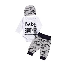 3Pcs baby boy fall outfit letter print long sleeve thanksgiving romper  cotton clothes set 1st birthday for D40