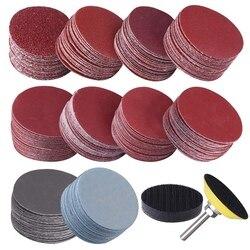 200 pces 50mm 2 Polegada discos de lixadeira disco 80-3000 grit papel com 1 Polegada placa de almofada polonês abrasivo + 1/4 Polegada haste para rotativo