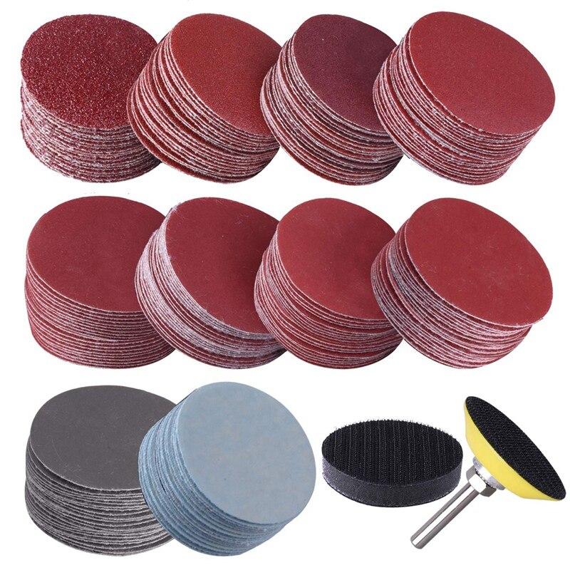 Disco para lijadora de discos de lijadora de 50mm y 2 pulgadas de 200 uds, papel de lija 80-3000 con placa de pulido abrasivo de 1 pulgada + vástago de 1/4 pulgadas para rotativo