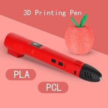 Qcreate 3d caneta pcl pla modo duplo display lcd ajustável temperatura 8 regulação de velocidade vem com 10 cores 50 metros filamento