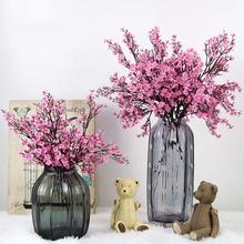 Kwiaty wiśni sztuczne kwiaty oddech dziecka łyszczec sztuczne kwiaty DIY dekoracje ślubne bukiet domu Faux kwiaty oddział tanie tanio Celadon C0896 Cherry Kwiat Oddział Ślub Jedwabiu White Yellow Orange Pink Blue Purple Red Gray Color approx 50cm 1Pcs