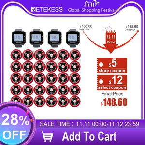 Image 1 - Retekess Restaurant Pager Hookah Waiter Call System Table Bell Pager 4 T128 Watch Receiver+30 T117 Call Button Cafe Clinic
