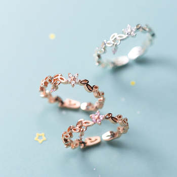 Modian Fashion 925 Strling Sliver Radiant Zircon Flower Leaves Stackable Ring for Women Open Adjustable Finger Fine Jewelry