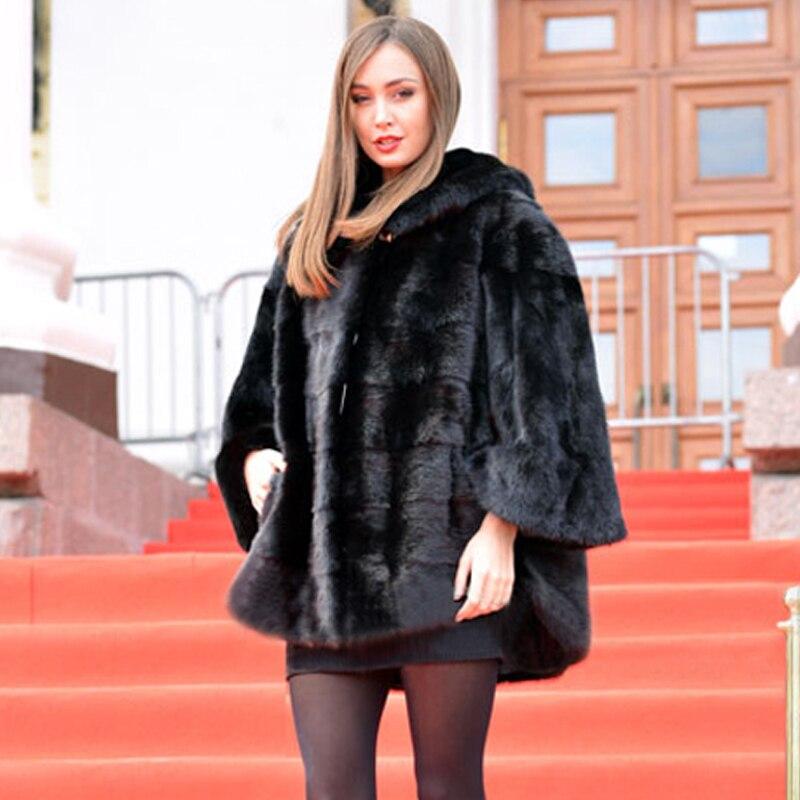 BFFUR Женская норковая шуба с рукавами «летучая мышь» с капюшоном, модная зимняя норковая шуба, шуба высокого качества, роскошная женская шуба