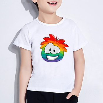 Teenage clothes Summer Short Sleeve T shirt Kids KC22 Club Penguin Rainbow Puffle Cartoon Print T-shirt Funny Baby Clothes image