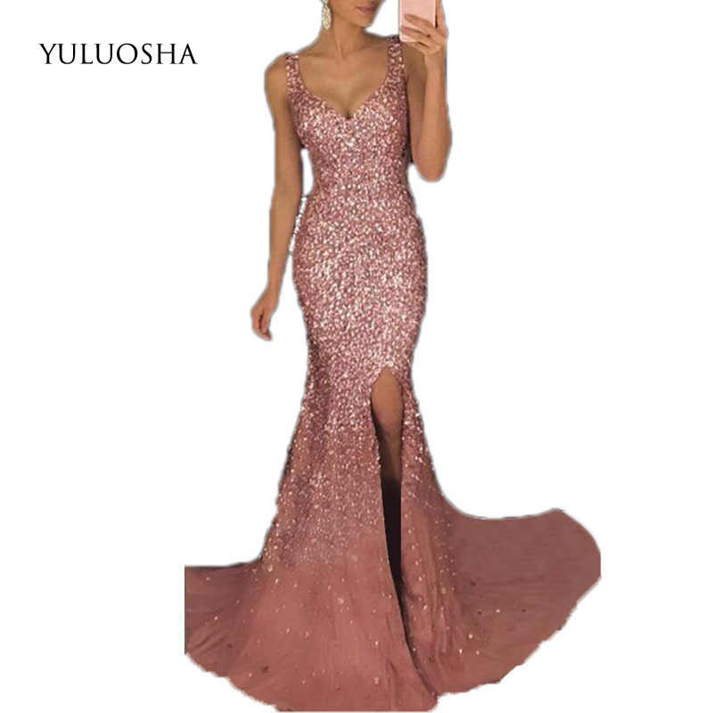 YULUOSHA Glamorous Deep V-Neck Spaghetti Straps Backless Mermaid Sequin Evening Dresses Prom Party Formal Dresses Robe Ceremonie