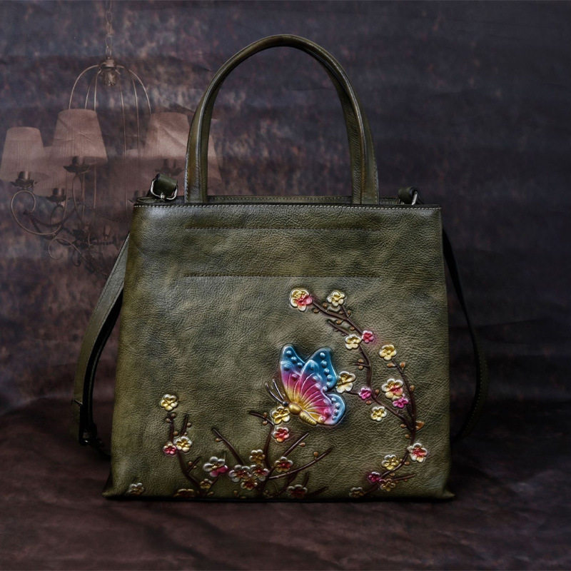 2020 New Style Women's Vintage Leather Embossed Large-Capacity Hand-Painted Handbag