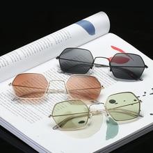 Fashion Hexagon Square Clear Sunglasses Women Brand Designer Men Vintage Metal F