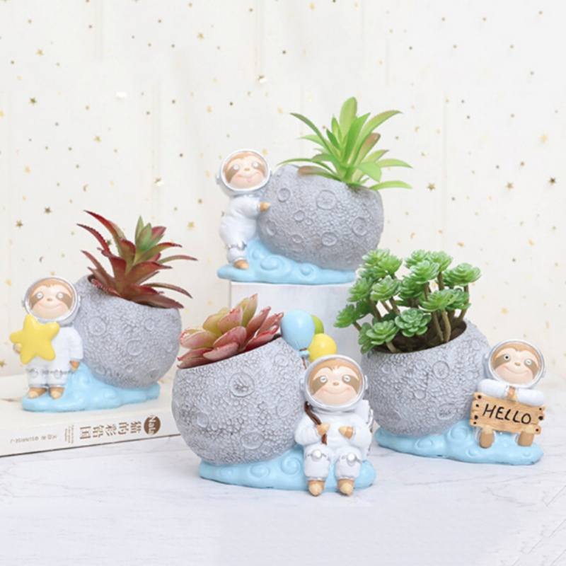 Cute Sloth Succulent Planter Pot Flower Container Desktop Bonsai Holder For Indoor Home Decoration Balcony Decorations Doniczka