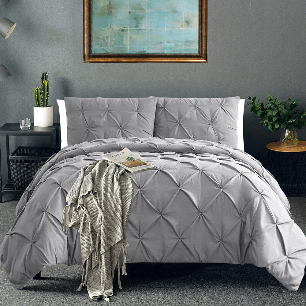 Pinch Pleat Bedding Set Comforter Bedding Sets Luxury Silk Duvet And Pillowcases Bed Cover Set Queen King Size Bedclothes