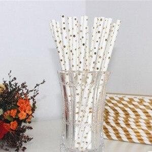Image 5 - 25 個ストライプ紙わらブロンズわら誕生日パーティーの装飾用品環境ストローダイニングツール