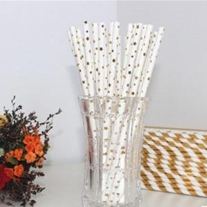 Image 5 - 25pcs stripe paper straw bronzing straw wedding birthday party decoration supplies environmental drinking straw dining tools