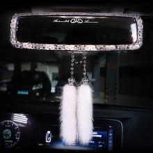 Bling Rhinestone Car Interior Rearview Mirror Cover Crystal Diamond Car Rear View Mirror Decoration