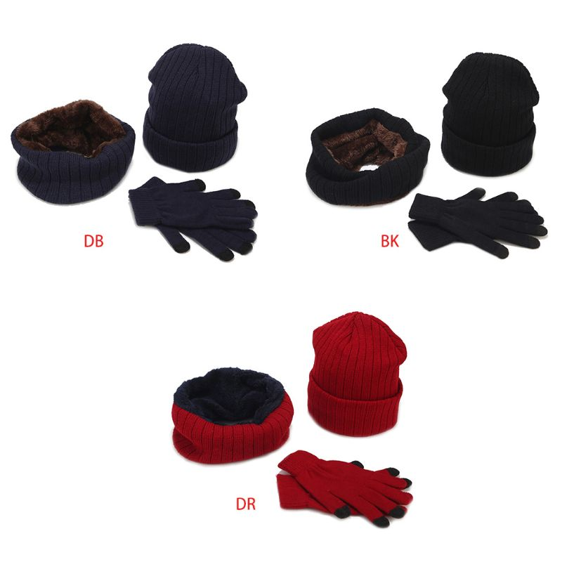 Winter Men Women Warm Thicken Solid Color Striped Knit Hat Scarf Gloves Set Unisex Casual Outdoor Hat Scarf Gloves Set