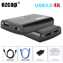 4K 1080P HDMI Loop Out Phone Game Capture Card USB 3.0 Mic In Video Record Box for PS4 HD Camera Switch PC Live Streaming Plate