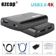 4K 1080P HDMI Loop Out gra telefoniczna karta przechwytująca USB 3.0 Mic w polu nagrywania wideo dla PS4 kamera HD przełącznik PC przekaz na żywo płyta