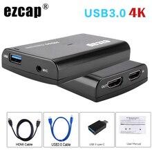 Boîtier denregistrement et diffusion en Streaming téléphone portable 4K/1080P, HDMI, boucle USB 3.0, micro, carte dacquisition pour PS4, appareil photo HD, Switch et PC en direct