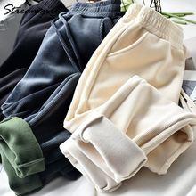 Зимние плотные вельветовые брюки для женщин бархатные 2020 черные