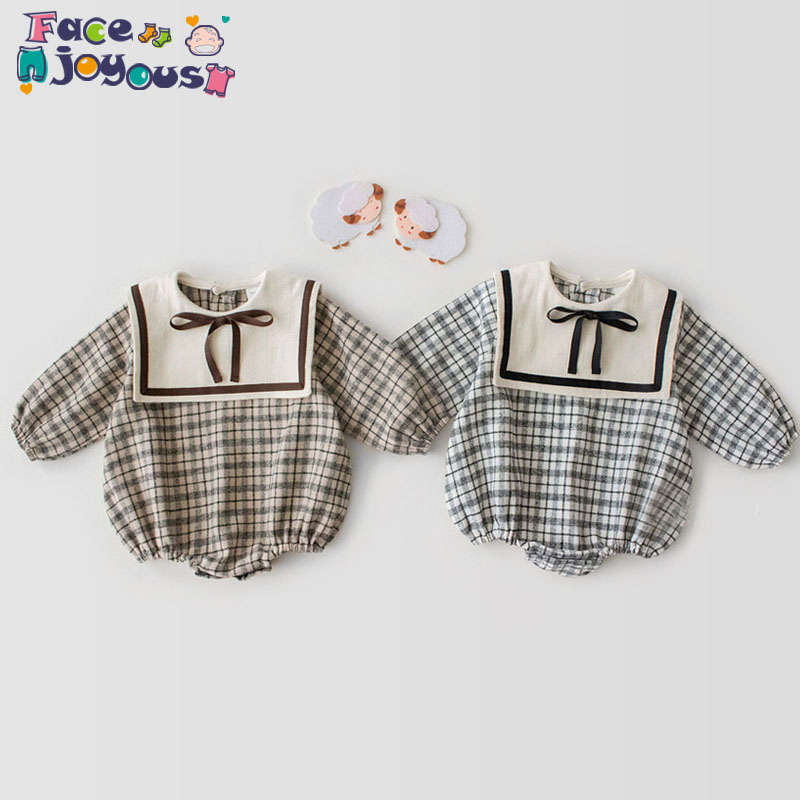 2020 Spring Summer Baby Girl Bodysuit Cotton Long-sleeved Plaid Print Bodysuit Kids Newborn Navy Collar Climbing Clothes
