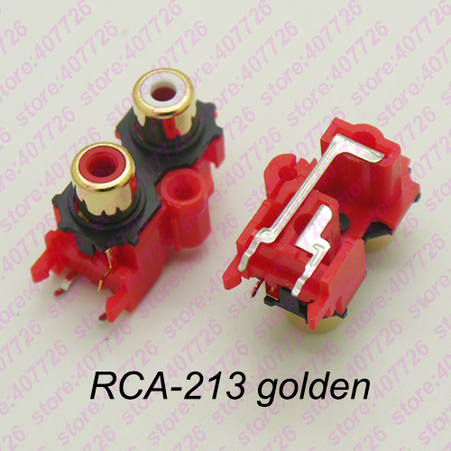 (2PCS/PACK) PCB  Mounting Stereo Audio Video Jack RCA Female Connector TWO Hole (W+R) RCA-213 Golden
