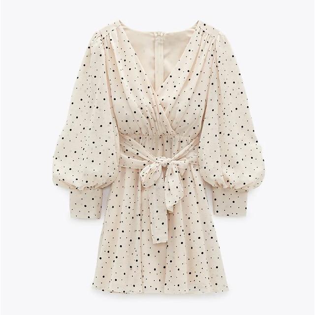 Za Dress Woman 2020 Polka Dot Mini Dress Long sleeve V-neckline Zip fastening White Women's Dresses for Summer 1