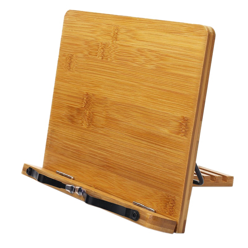 Bamboo Book Stand Adjustable Book Holder Tray -Cookbook Reading Desk Portable Sturdy Lightweight Bookstand-Textbooks Bookstands-