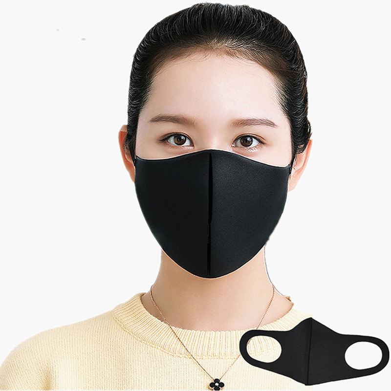1PC Cotton Black Mouth Mask Anti Haze Dust Washable Reusable Women Men Dustproof Anti-Bacterial Outdoor Travel Dust Mask