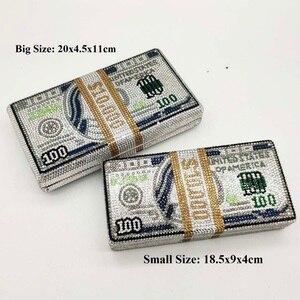 (В наличии) Стек денежных средств богатый $100 долларов, сумочка для денег Для женщин с украшением в виде кристаллов клатч вечерние сумки кокт...