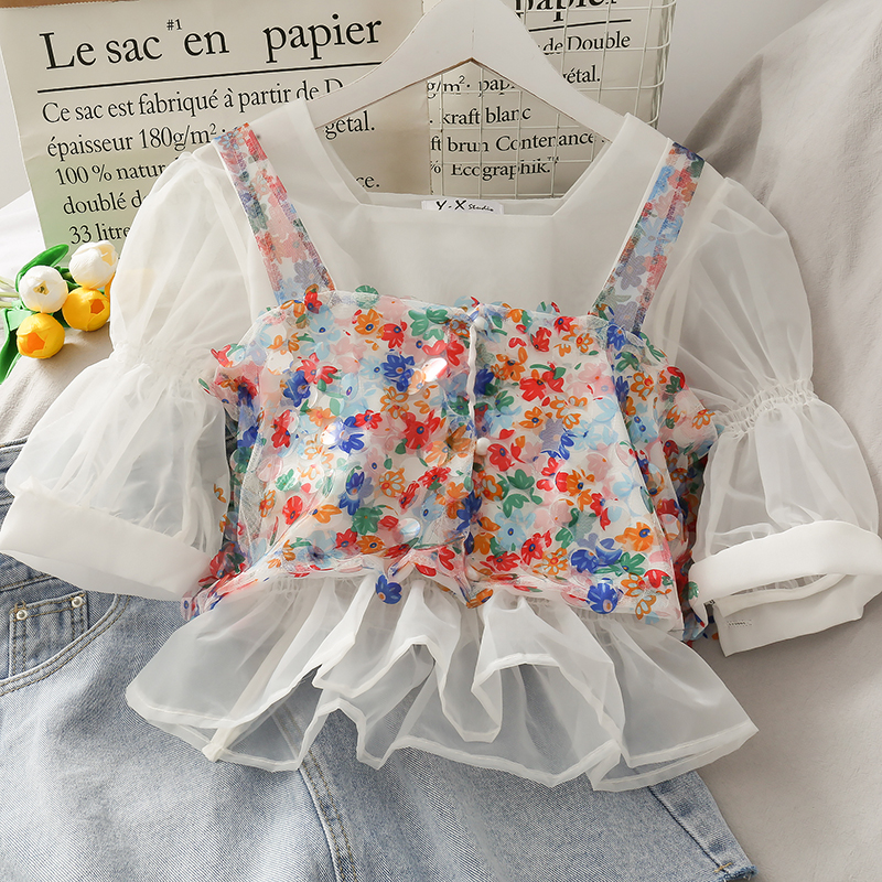 2020 Summer Lady Flower Shirt Two Piece Shirt + Tank Top Two Piece Set AS0084