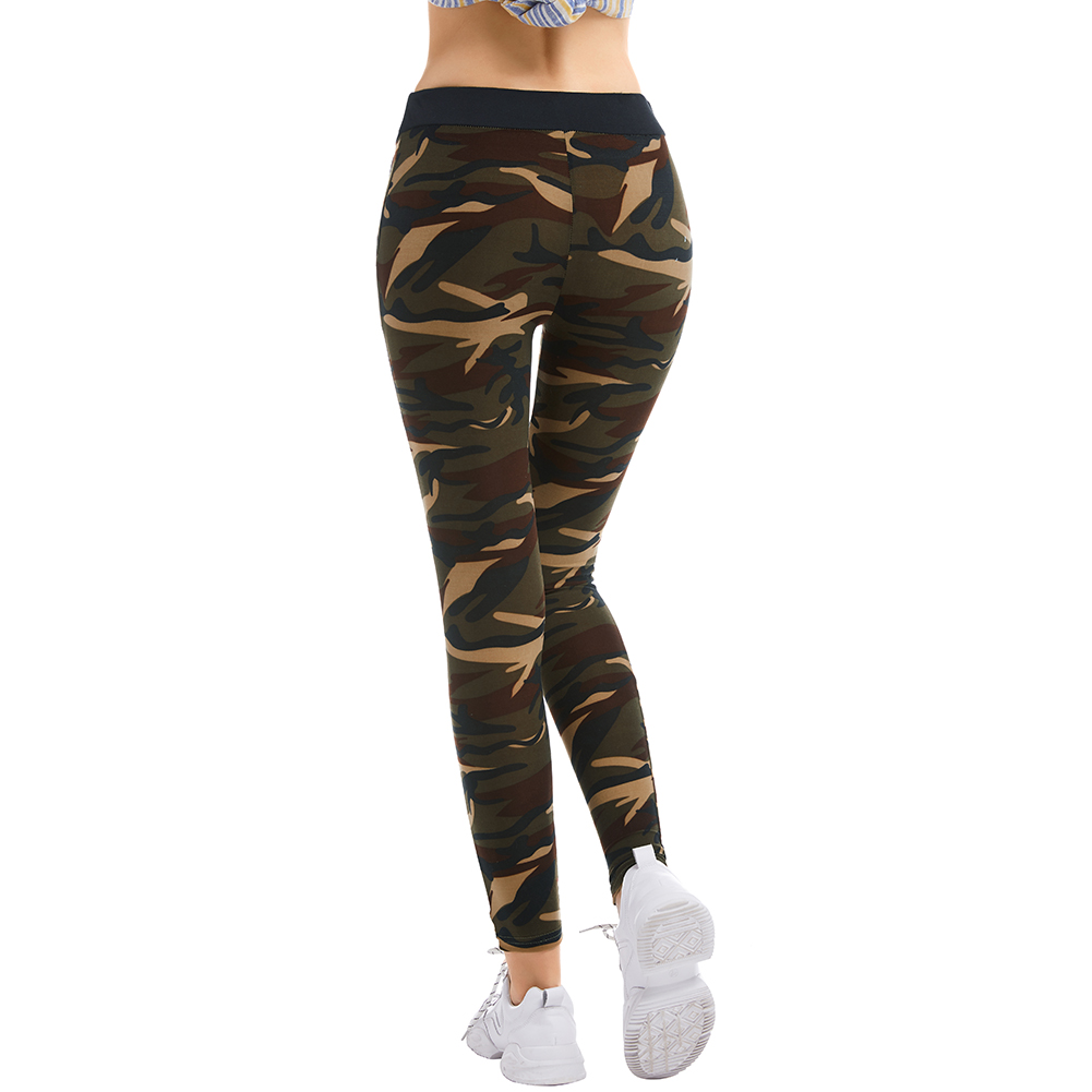 Kureas Women Camouflage Pencil Pants Casual Elastic Skinny Trousers Knitted Print Slim Pants Winter Autumn Sport Workout