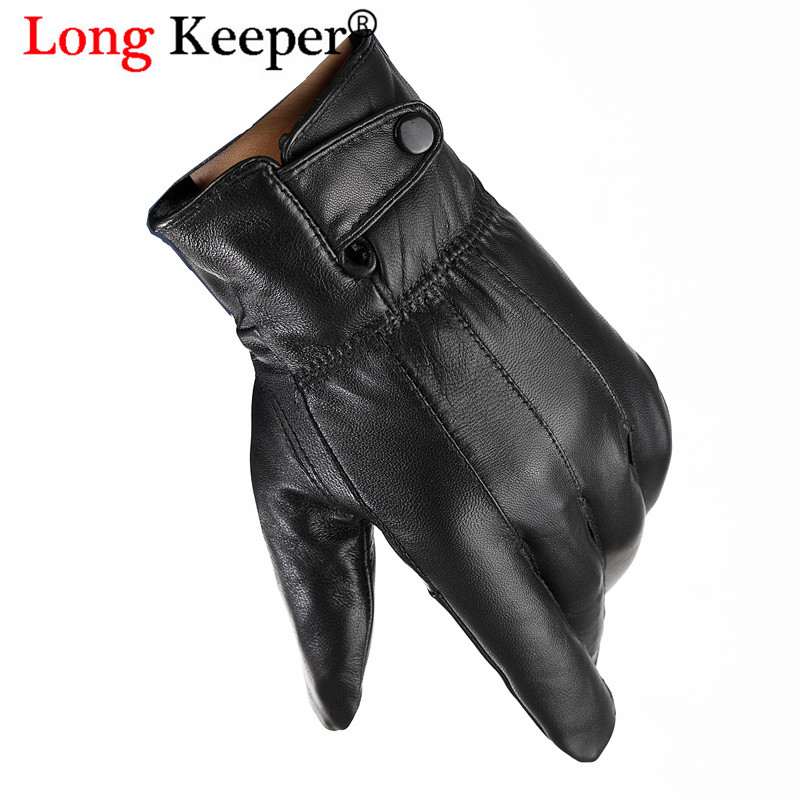 LongKeeper Men's Genuine Leather Gloves Real Sheepskin Black Driving Gloves Button Fashion Brand Winter Warm Mittens New Guantes
