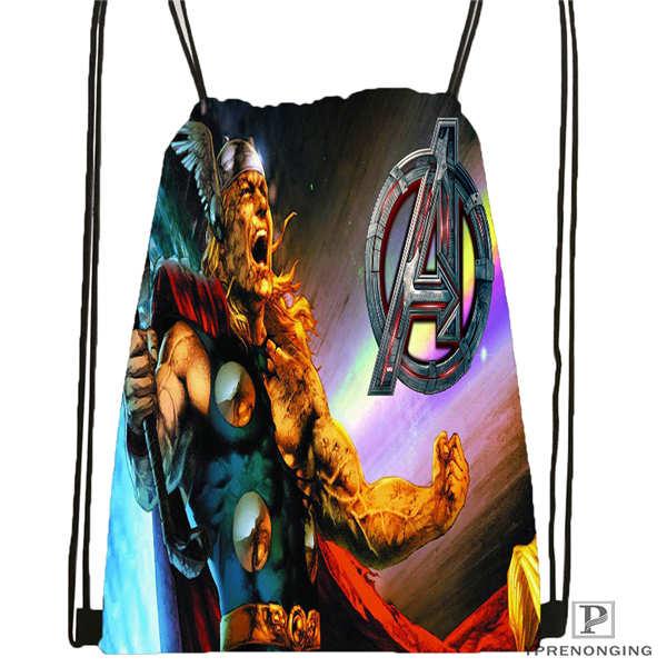 Custom Thor   Drawstring Backpack Bag Cute Daypack Kids Satchel (Black Back) 31x40cm#180612-02-8
