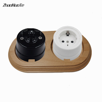 Retro Switch Socket Wooden Base Wall Lamp 1-3 Gang Power EU