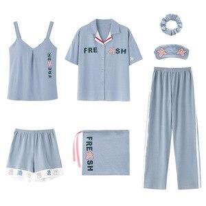Image 3 - 2020 sommer Baumwolle Pyjamas für Frauen 7 Stück Set baumwolle Nachtwäsche Hause Kleidung Weiblichen v ausschnitt Shorts Hosen sexi schlaf tragen