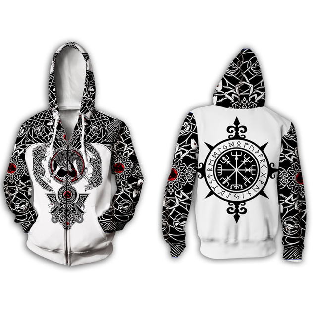 3D Viking Tattoo All Over Printed Unisex Hoodie 1