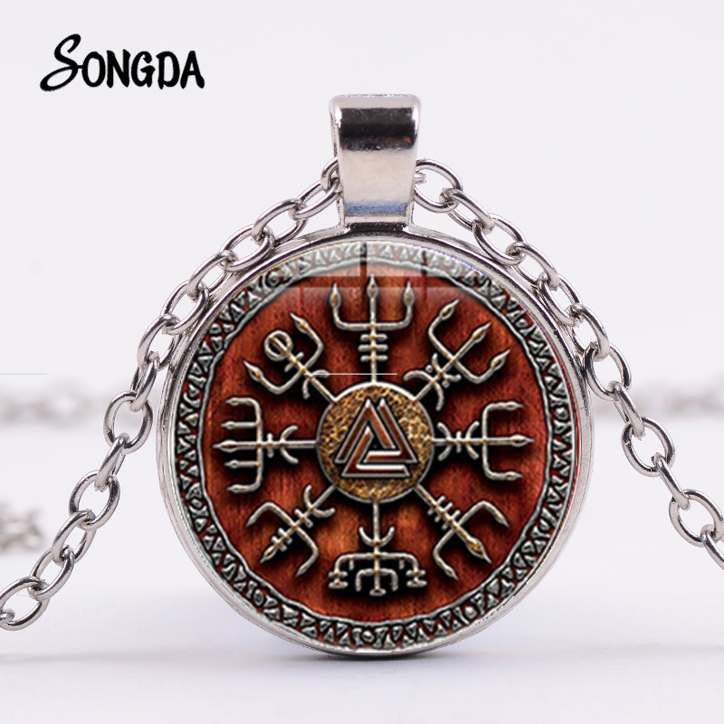 US $0.8 45% OFF|SONGDA 2019 Vegvisir Viking Compass Necklace Warrior Symbol Rune Amulet Collier Pendant Glass Cabochon Men Women Viking Jewelry|Pendant Necklaces| |  - AliExpress