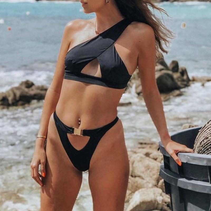 Hbda65dd7354049ddb3e36292f60c3d12D In-X One shoulder bikini 2019 Buckle high cut swimsuit Sexy thong bikini Hollow out bathing suit White push up swimwear women