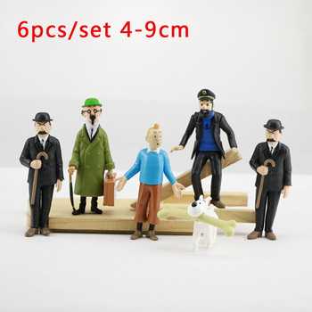 Animation Model Figurines PVC Action Figure The Adventures of Tintin Cartoon 6pcs/set 4-9cm Hobby Collectible Dolls Kid Toy Gift the adventures of tintin the shooting star