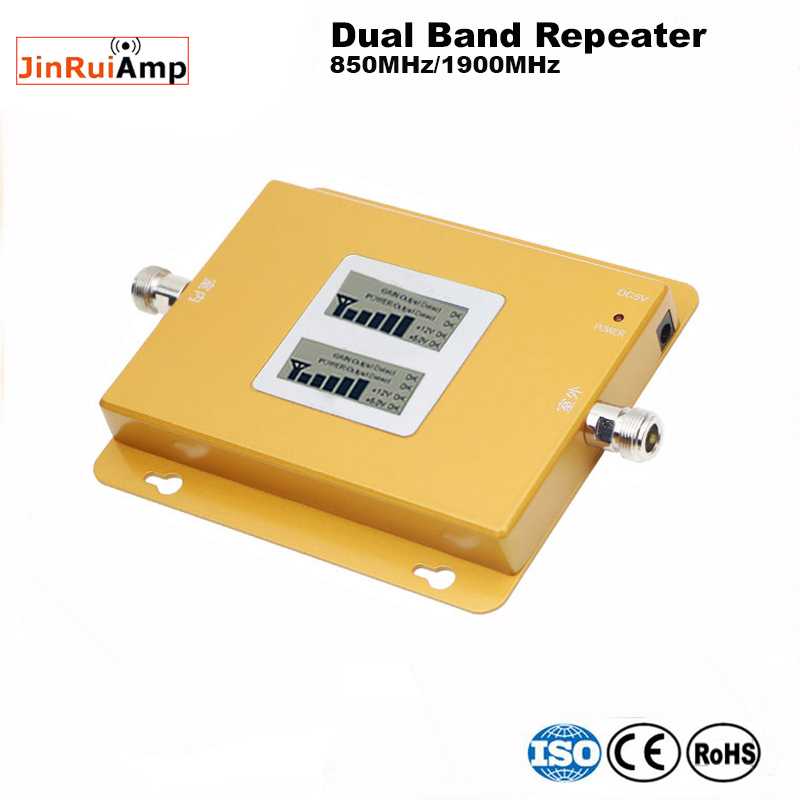 Lcd 70dB Gain GSM 850 1900 Mobile Phone Signal Amplifier Repetidor Sinal Celular CDMA 850 PCS 1900 Dual Band Repeater For Brazil