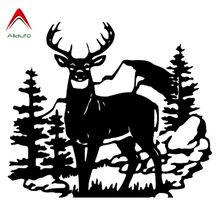 Aliauto moda carro adesivo caça veados selvagem animal automóvel estilo vinil impermeável antiuv decalque preto/prata, 35cm * 30cm