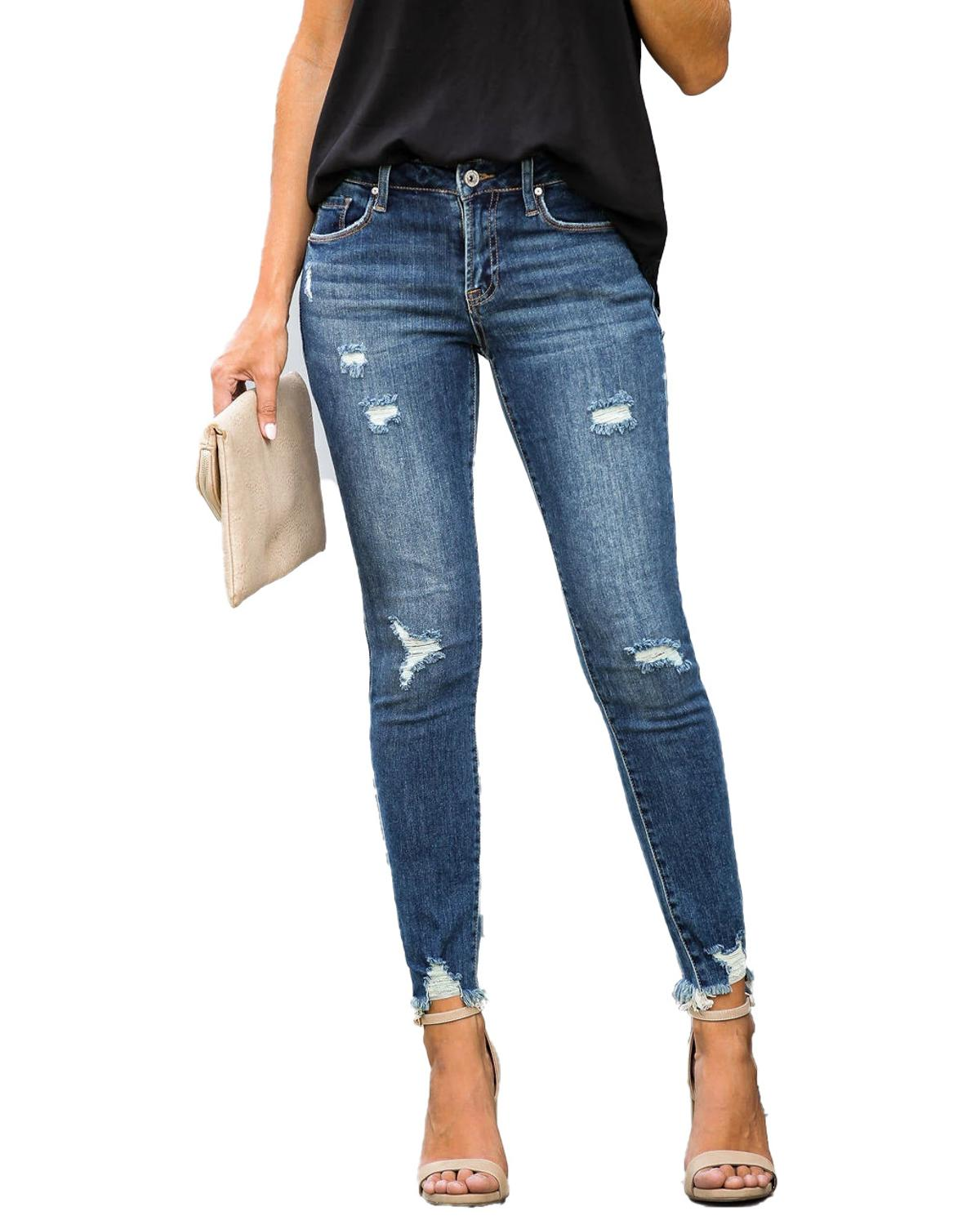 New Mid Waist Skinny Jeans Women Vintage Distressed Denim Pants Holes Destroyed Pencil Pants Casual Trousers