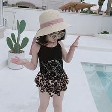 Swimsuit Girls Skirt Bikini Leopard One-Piece Children's Summer New Princess Kids
